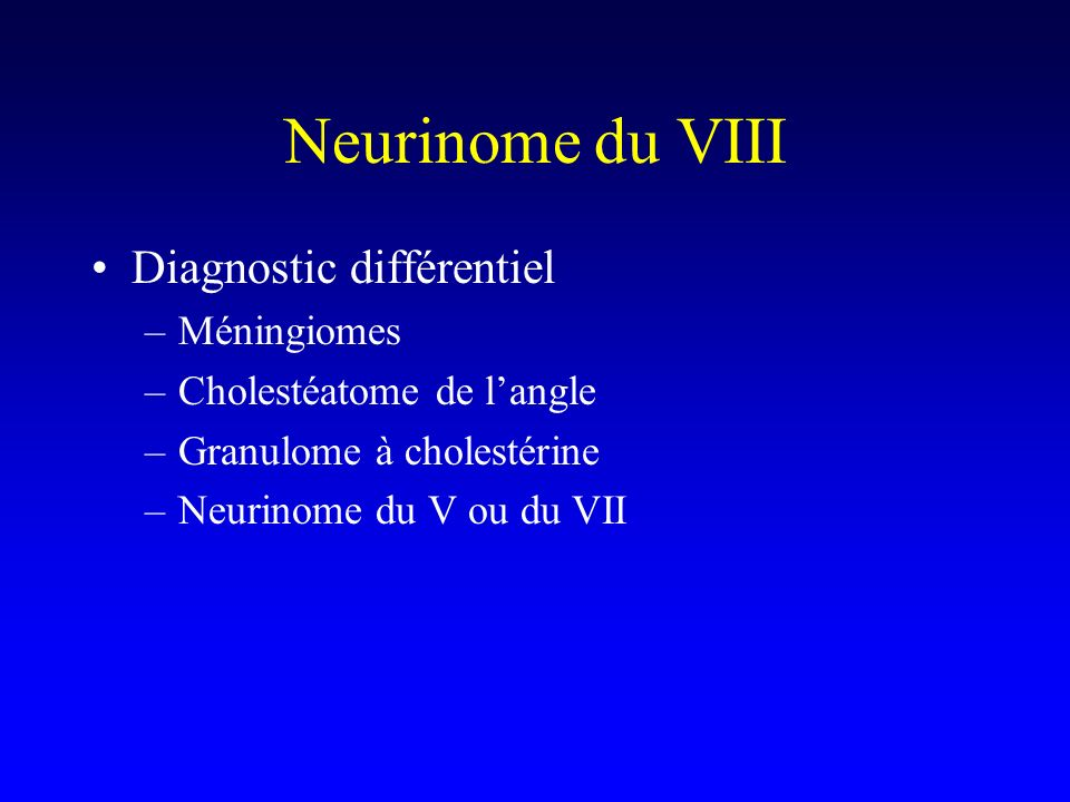 Neurinome du VIII Diagnostic différentiel Méningiomes