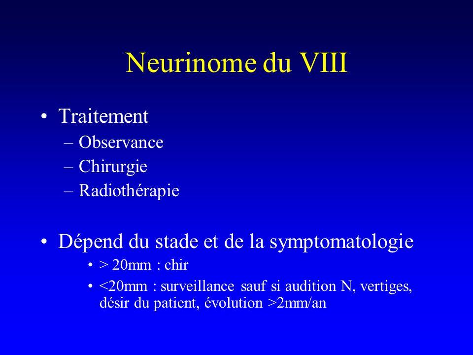 Neurinome du VIII Traitement Dépend du stade et de la symptomatologie