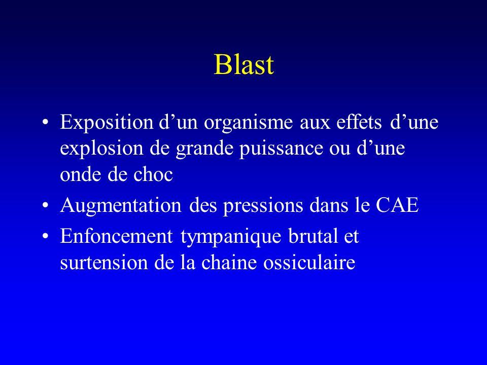 Blast Exposition d'un organisme aux effets d'une explosion de grande puissance ou d'une onde de choc.