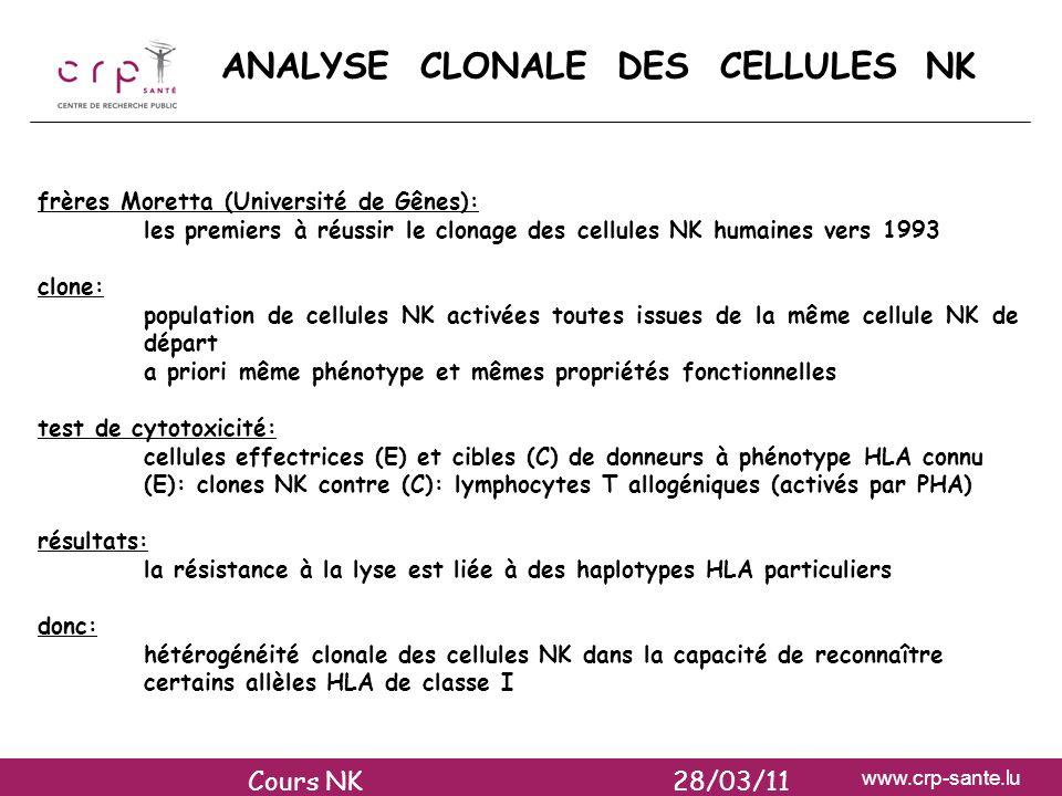 ANALYSE CLONALE DES CELLULES NK