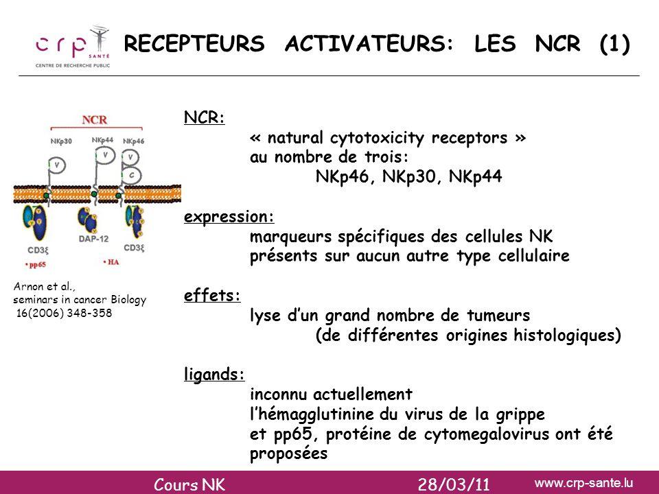 RECEPTEURS ACTIVATEURS: LES NCR (1)