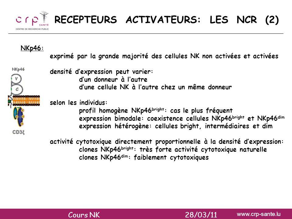 RECEPTEURS ACTIVATEURS: LES NCR (2)