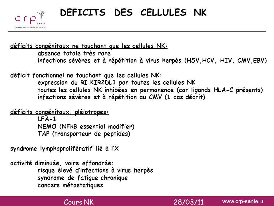 DEFICITS DES CELLULES NK