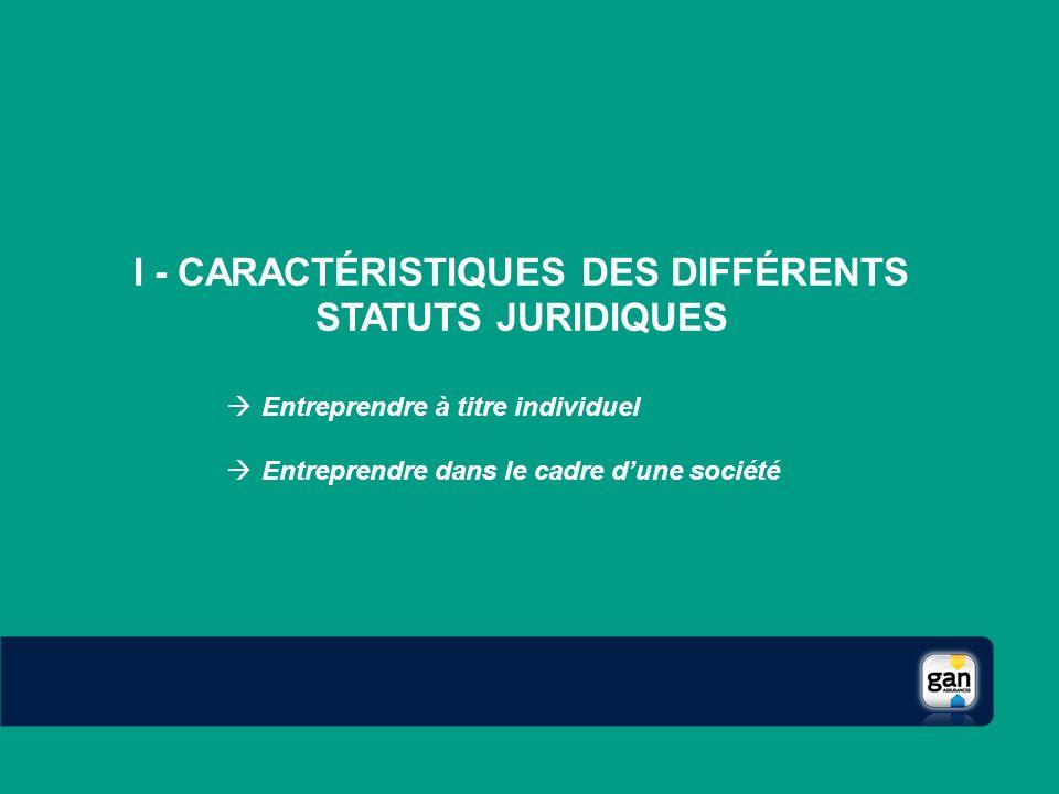 I - CARACTÉRISTIQUES DES DIFFÉRENTS STATUTS JURIDIQUES