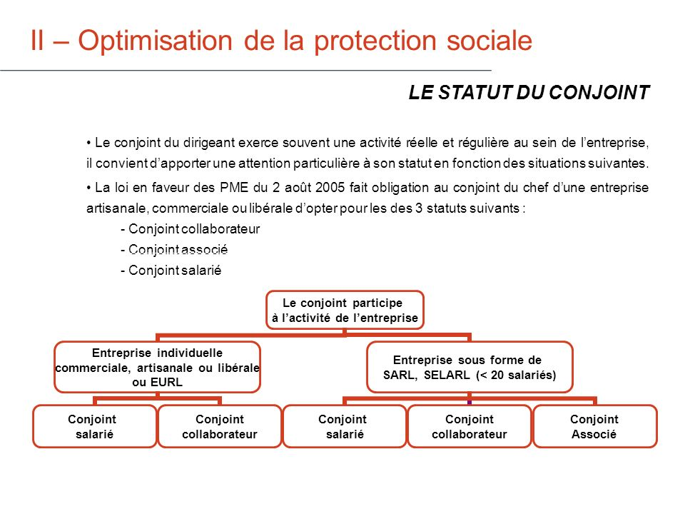 II – Optimisation de la protection sociale