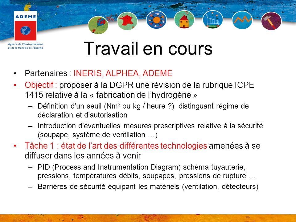 Travail en cours Partenaires : INERIS, ALPHEA, ADEME