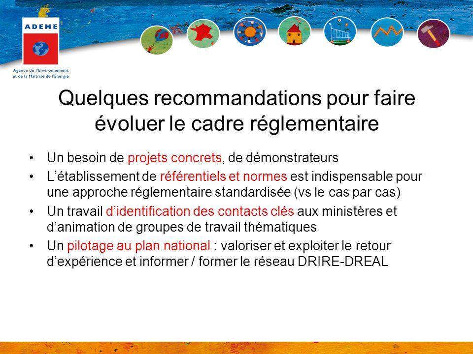 Quelques recommandations pour faire évoluer le cadre réglementaire