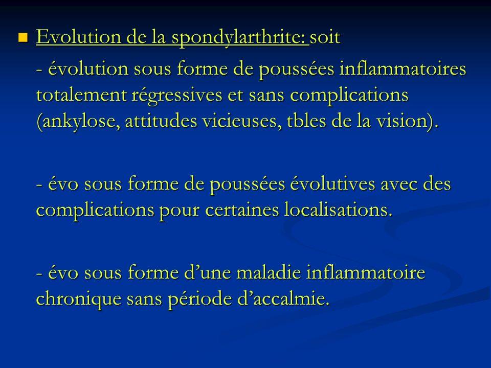 Evolution de la spondylarthrite: soit