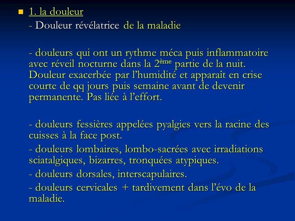 1. la douleur - Douleur révélatrice de la maladie.