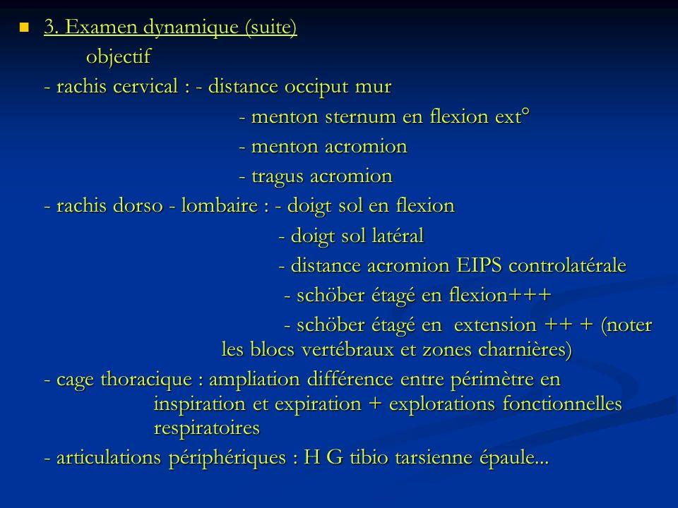 3. Examen dynamique (suite)