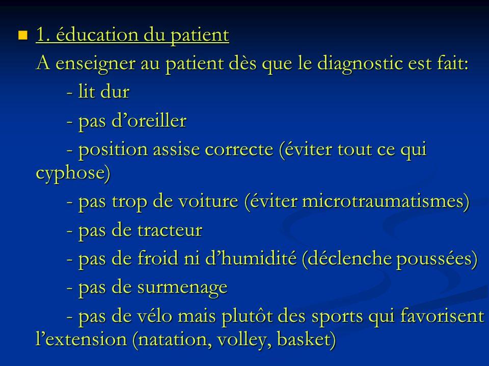 1. éducation du patient A enseigner au patient dès que le diagnostic est fait: - lit dur. - pas d'oreiller.
