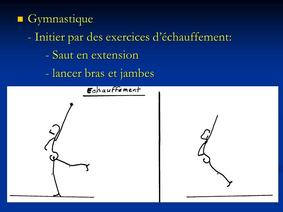 Gymnastique - Initier par des exercices d'échauffement: - Saut en extension - lancer bras et jambes