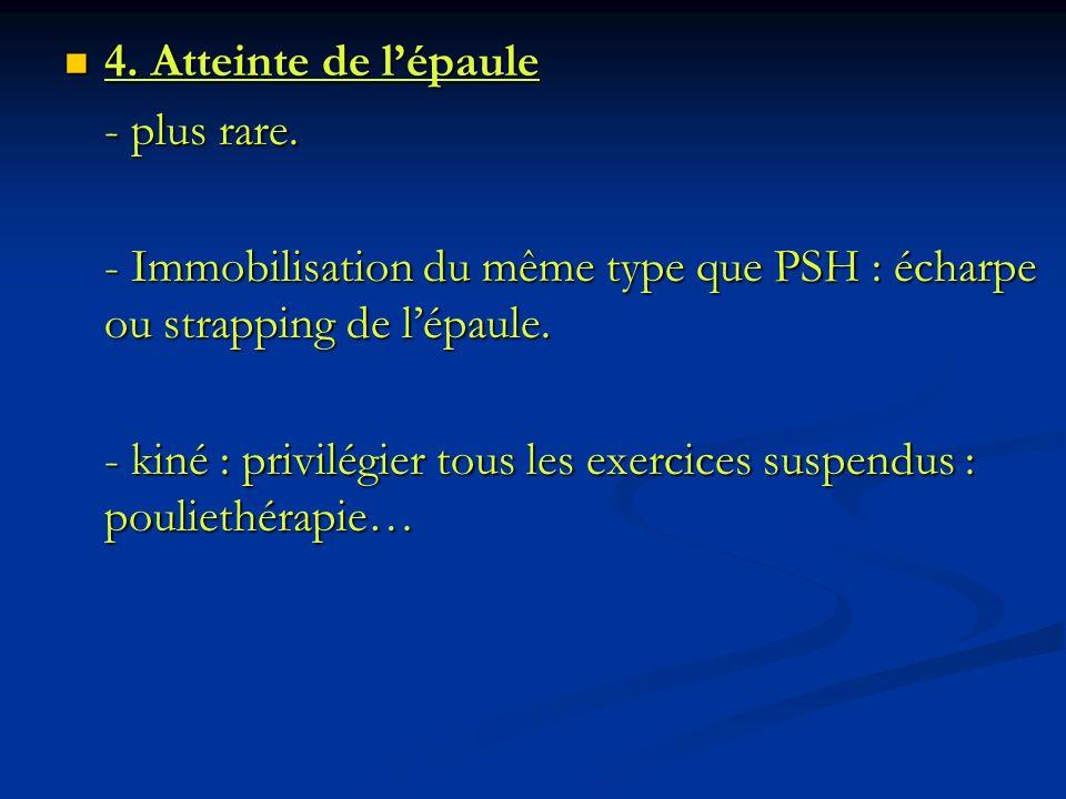 4. Atteinte de l'épaule - plus rare. - Immobilisation du même type que PSH : écharpe ou strapping de l'épaule.