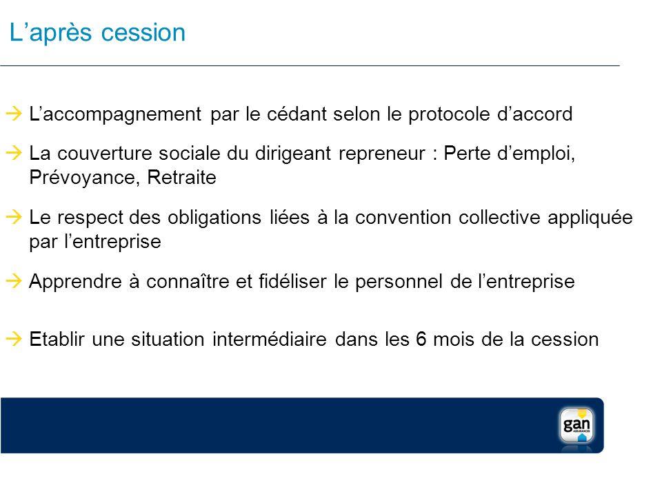 L'après cession L'accompagnement par le cédant selon le protocole d'accord.