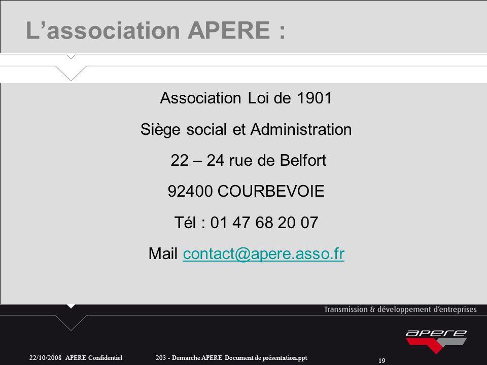 L'association APERE : Association Loi de 1901