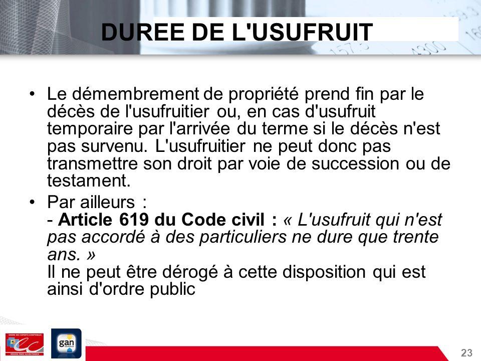 DUREE DE L USUFRUIT