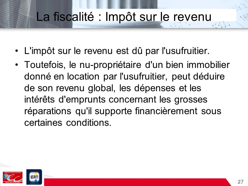 La fiscalité : Impôt sur le revenu