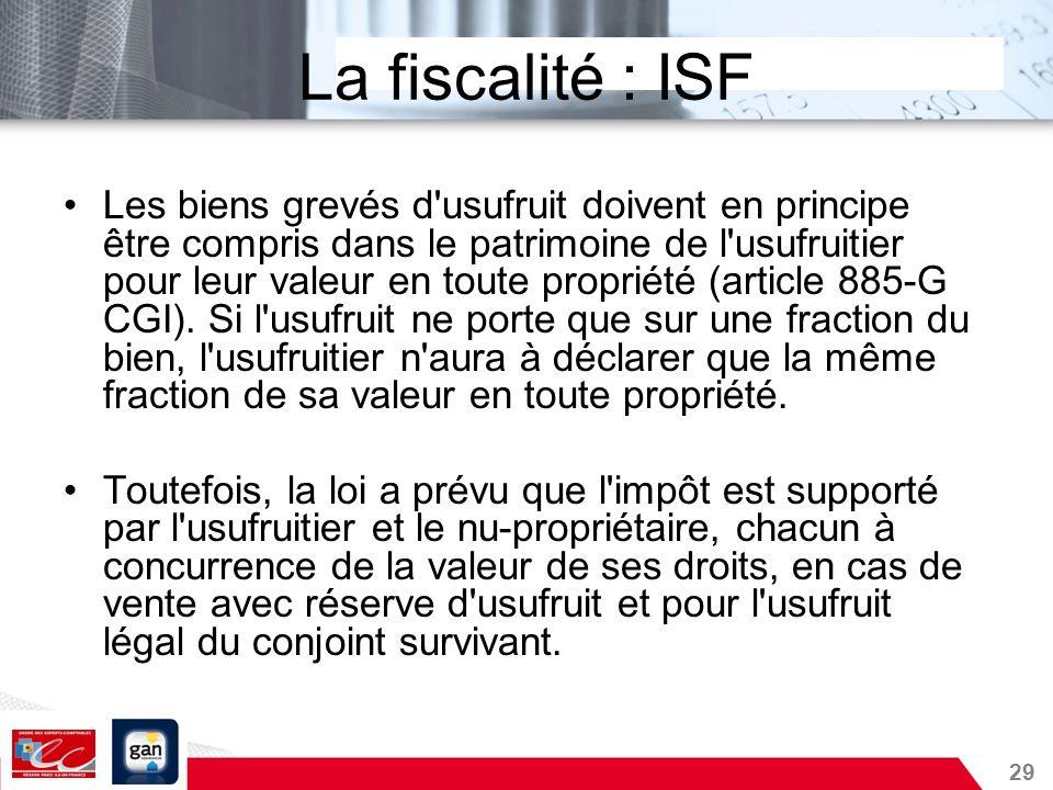 La fiscalité : ISF