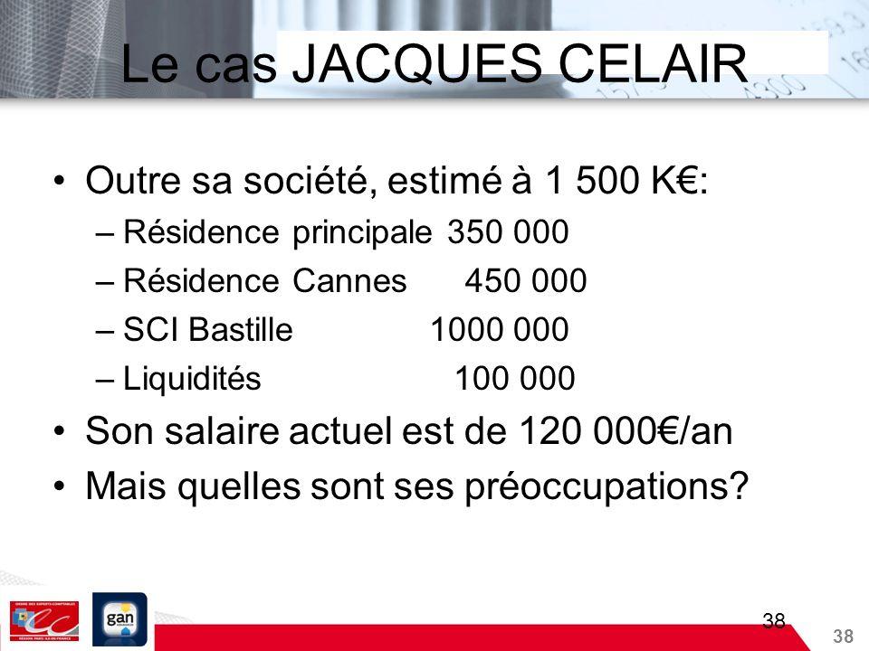 Le cas JACQUES CELAIR Outre sa société, estimé à 1 500 K€: