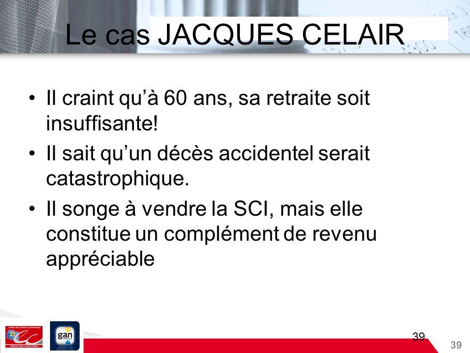 Le cas JACQUES CELAIRIl craint qu'à 60 ans, sa retraite soit insuffisante! Il sait qu'un décès accidentel serait catastrophique.