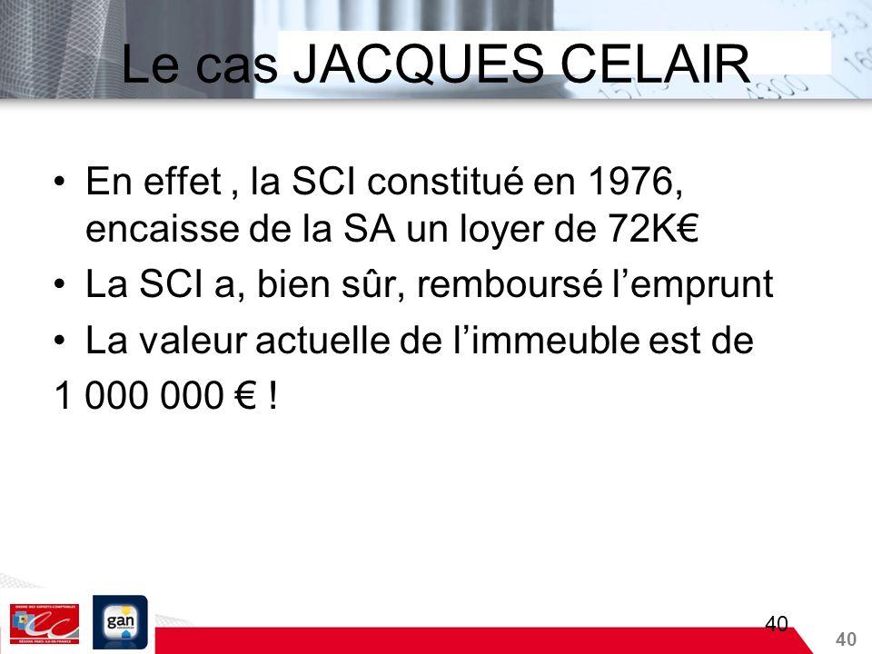Le cas JACQUES CELAIR En effet , la SCI constitué en 1976, encaisse de la SA un loyer de 72K€ La SCI a, bien sûr, remboursé l'emprunt.