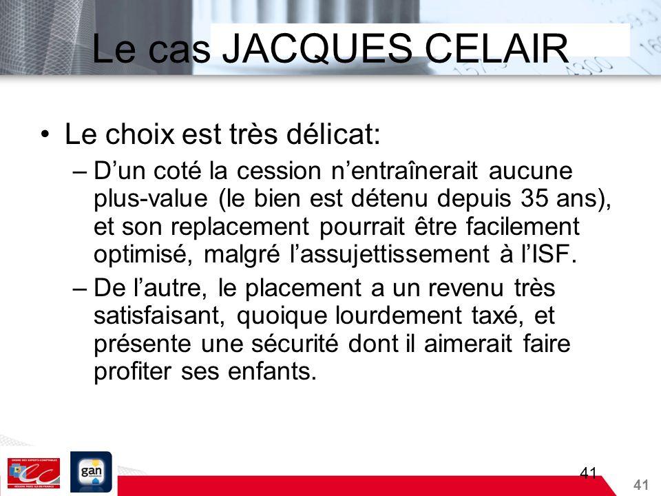 Le cas JACQUES CELAIR Le choix est très délicat: