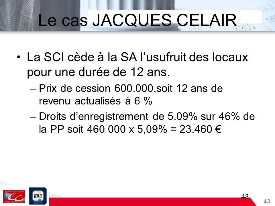 Le cas JACQUES CELAIRLa SCI cède à la SA l'usufruit des locaux pour une durée de 12 ans.