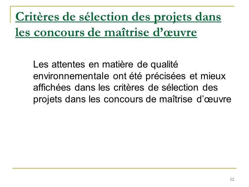 Critères de sélection des projets dans les concours de maîtrise d'œuvre