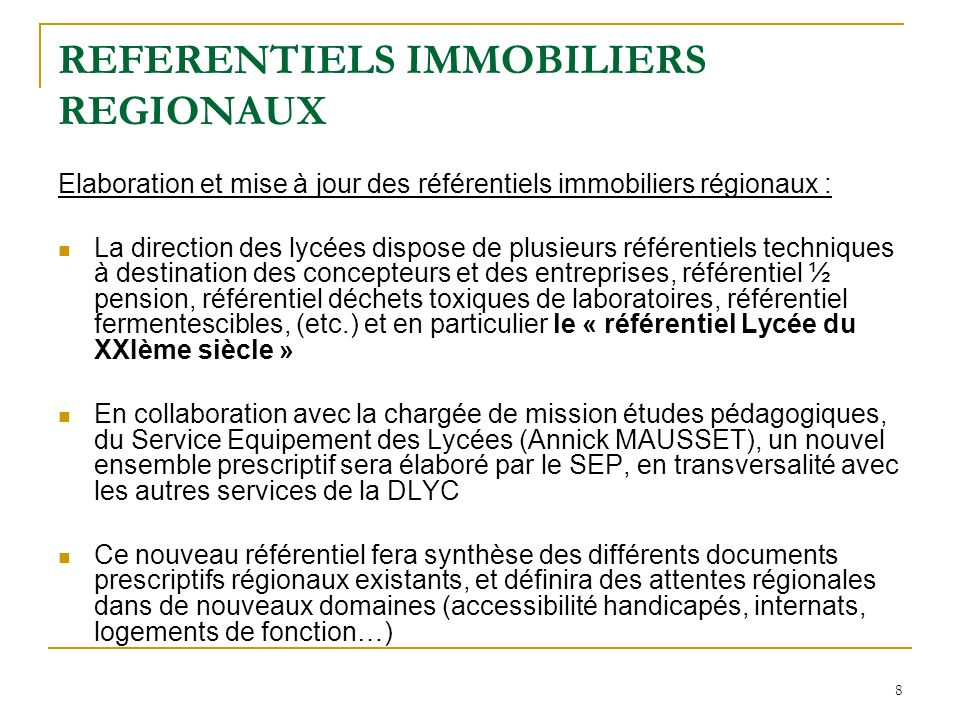 REFERENTIELS IMMOBILIERS REGIONAUX