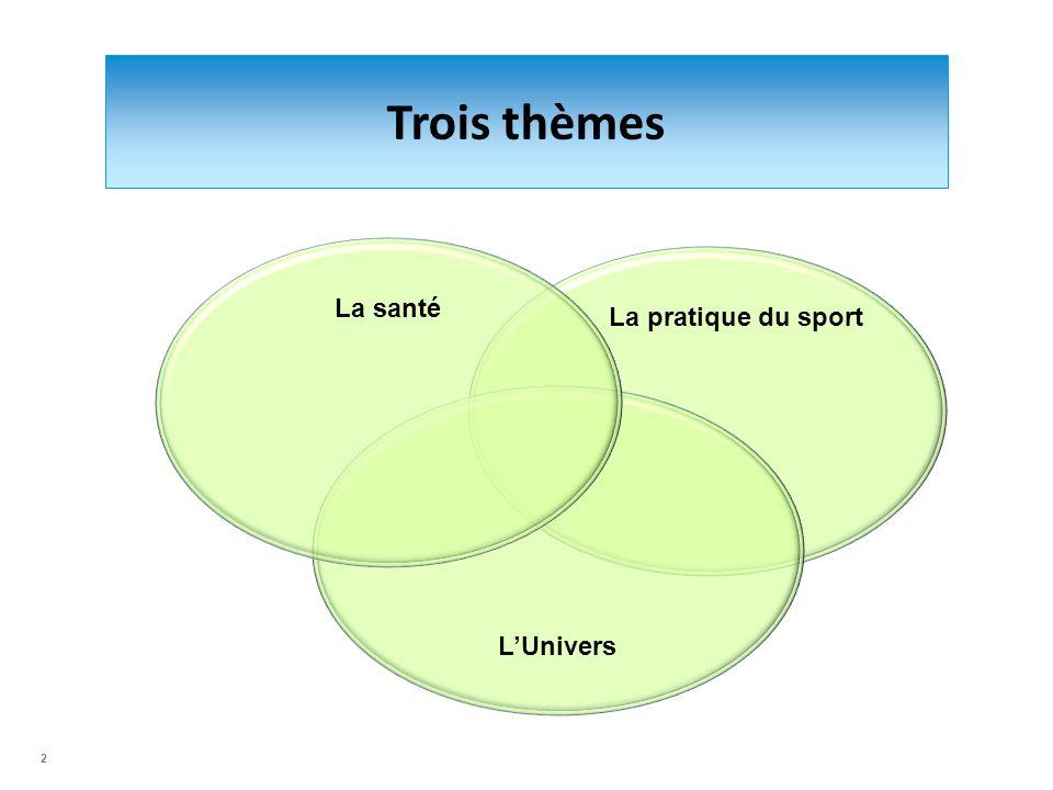 Trois thèmes La santé La pratique du sport L'Univers 2 2