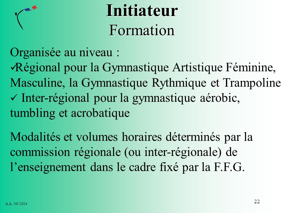 Initiateur Formation Organisée au niveau :