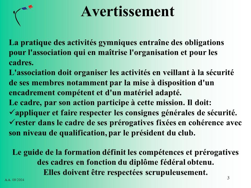 AvertissementLa pratique des activités gymniques entraîne des obligations pour l association qui en maîtrise l organisation et pour les cadres.