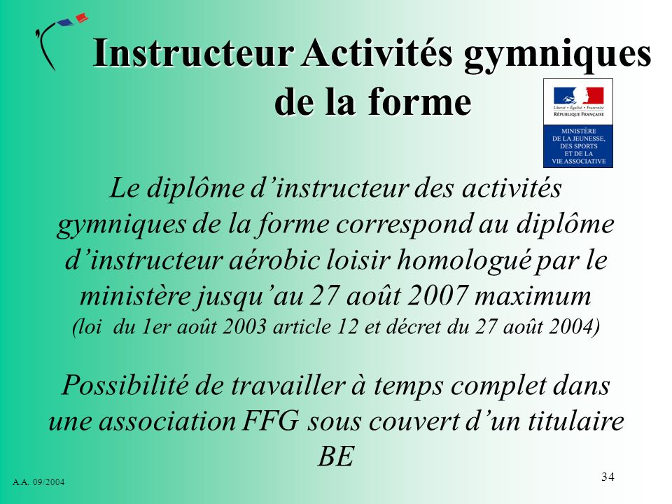 Instructeur Activités gymniques de la forme