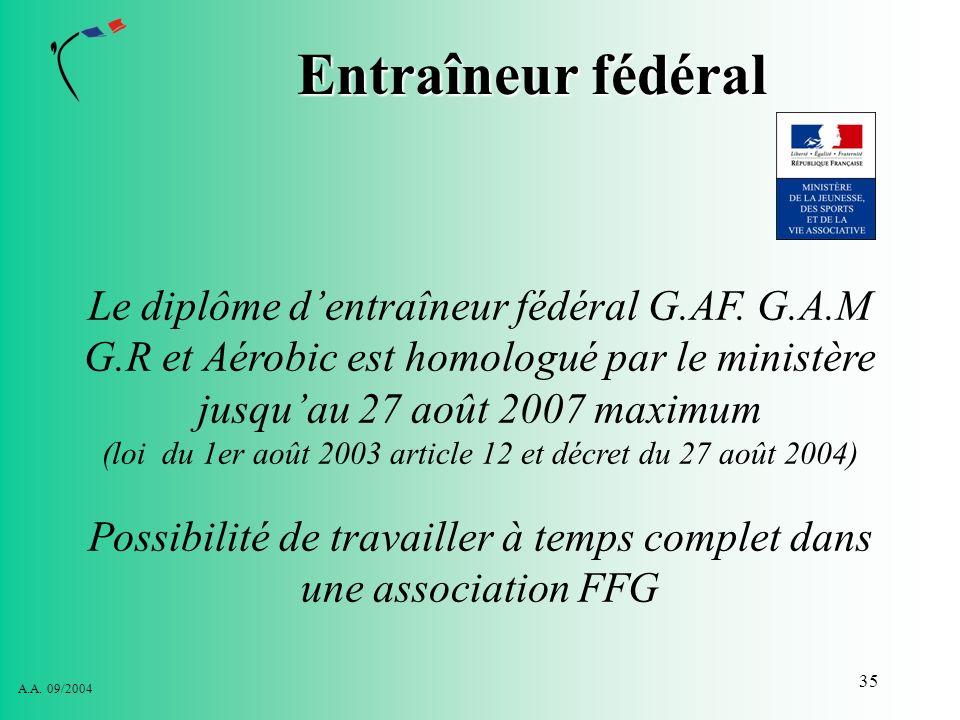 Entraîneur fédéralLe diplôme d'entraîneur fédéral G.AF. G.A.M G.R et Aérobic est homologué par le ministère jusqu'au 27 août 2007 maximum.