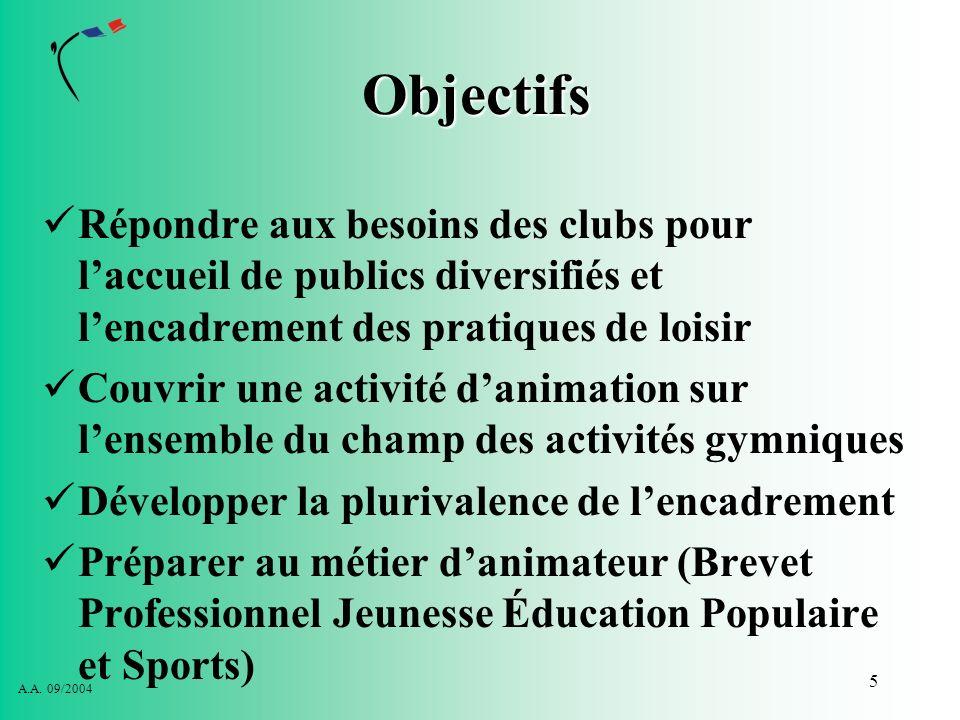 Objectifs Répondre aux besoins des clubs pour l'accueil de publics diversifiés et l'encadrement des pratiques de loisir.