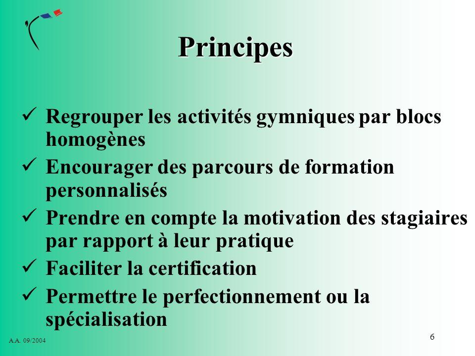 Principes Regrouper les activités gymniques par blocs homogènes