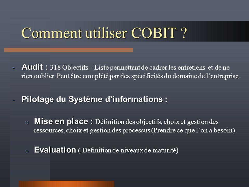 Comment utiliser COBIT