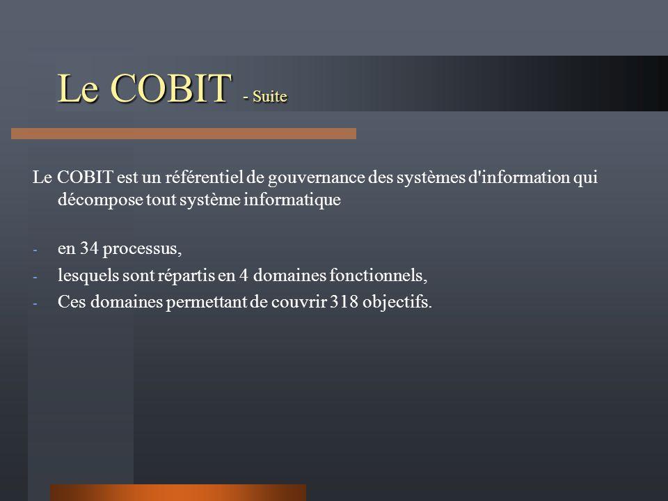 Le COBIT - Suite Le COBIT est un référentiel de gouvernance des systèmes d information qui décompose tout système informatique.