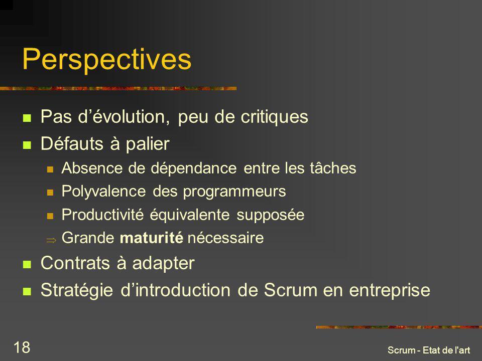 Perspectives Pas d'évolution, peu de critiques Défauts à palier