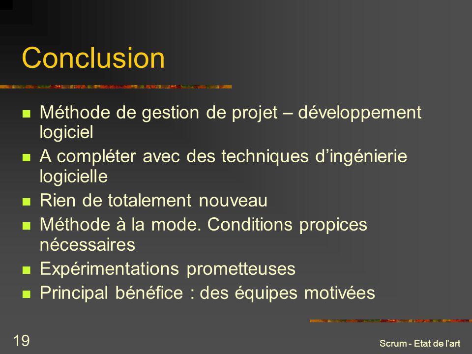 Conclusion Méthode de gestion de projet – développement logiciel