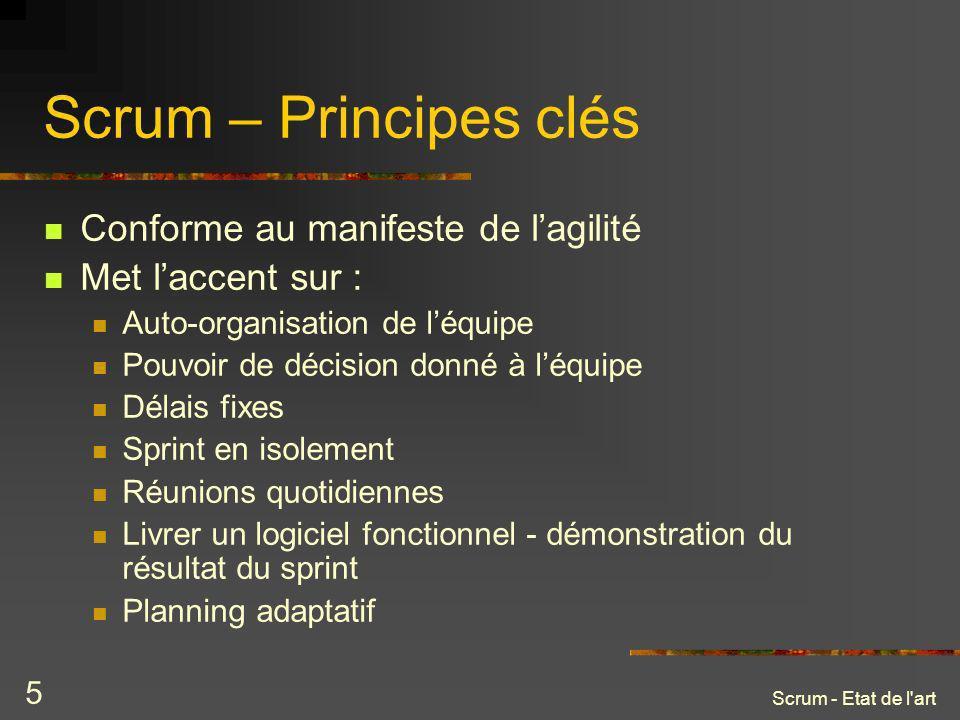 Scrum – Principes clés Conforme au manifeste de l'agilité