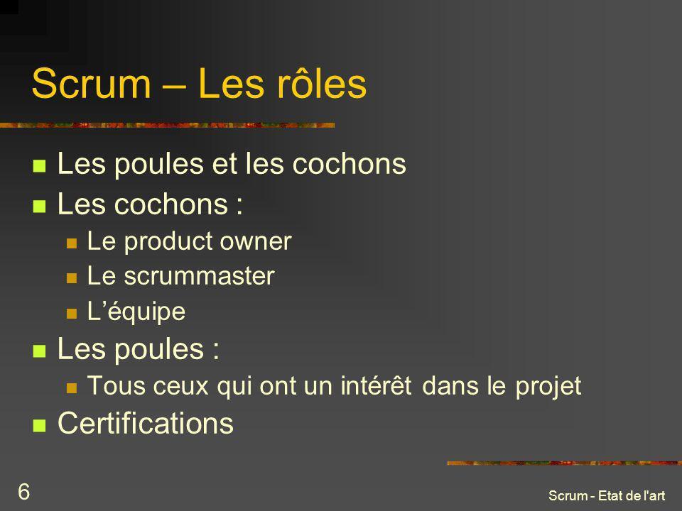Scrum – Les rôles Les poules et les cochons Les cochons : Les poules :