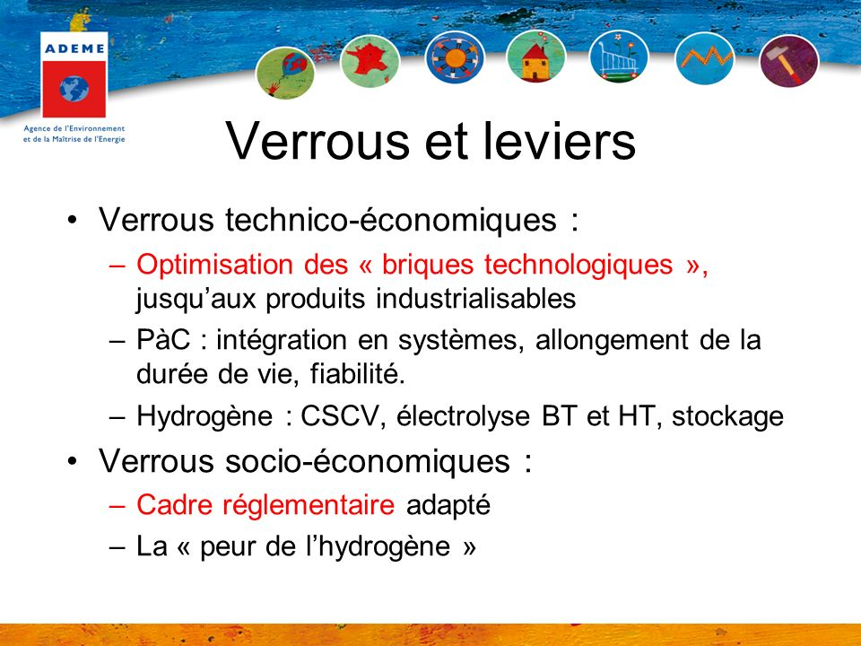 Verrous et leviers Verrous technico-économiques :