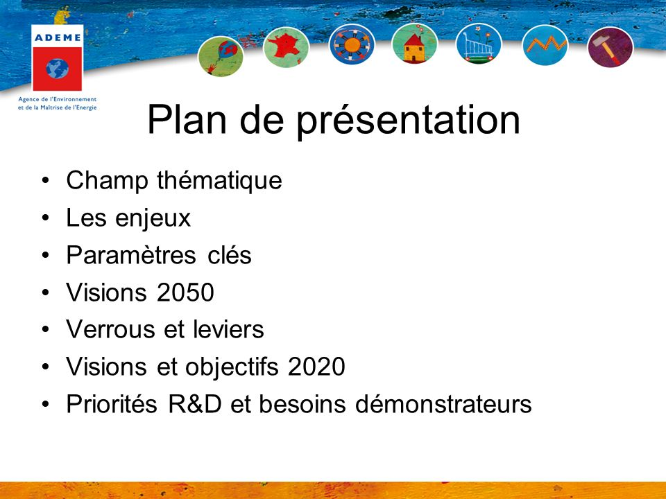 Plan de présentation Champ thématique Les enjeux Paramètres clés