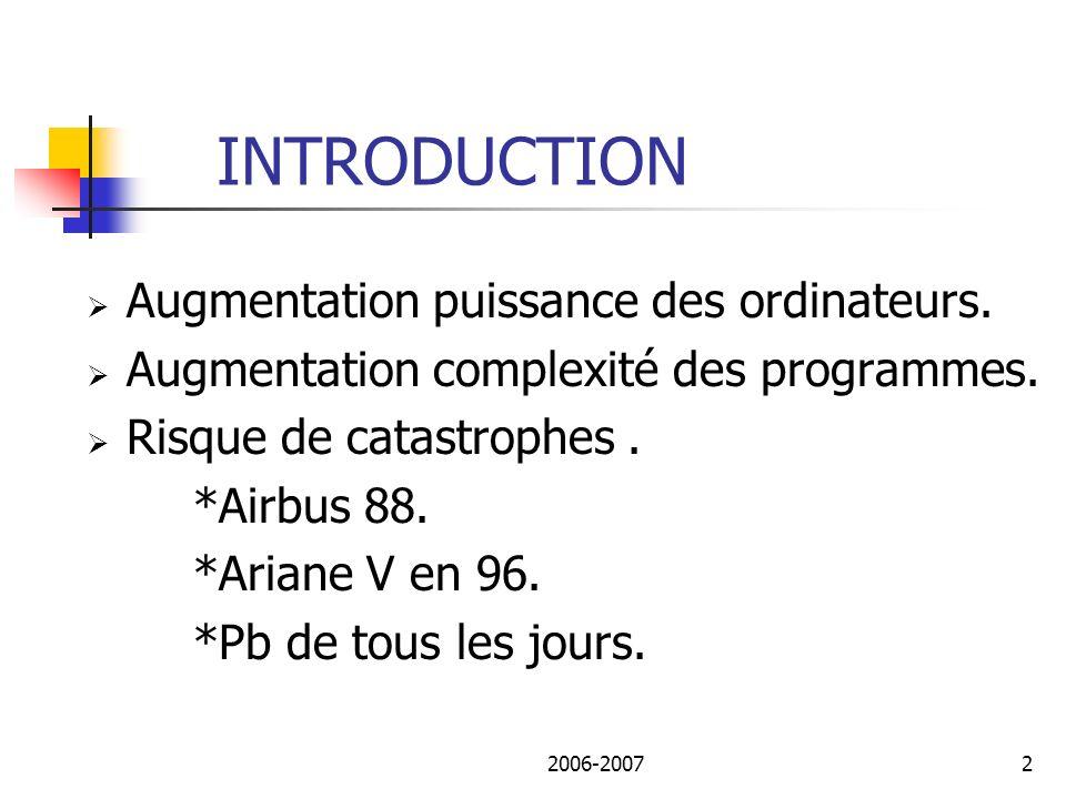 INTRODUCTION Augmentation puissance des ordinateurs.