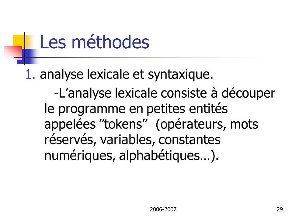 Les méthodes 1. analyse lexicale et syntaxique.