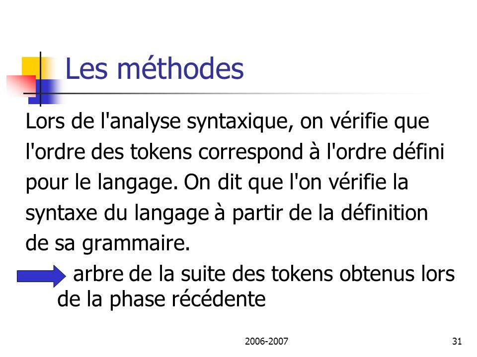 Les méthodes Lors de l analyse syntaxique, on vérifie que