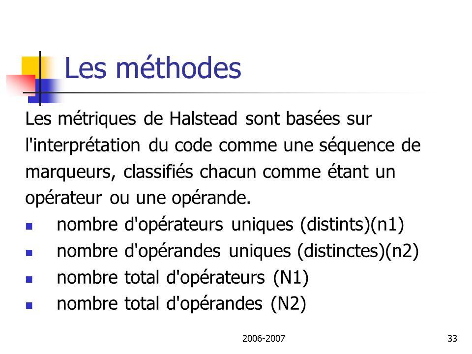 Les méthodes Les métriques de Halstead sont basées sur