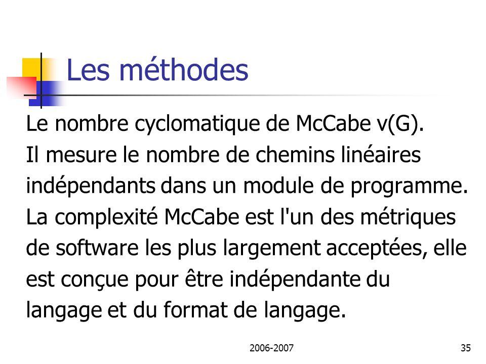 Les méthodes Le nombre cyclomatique de McCabe v(G).
