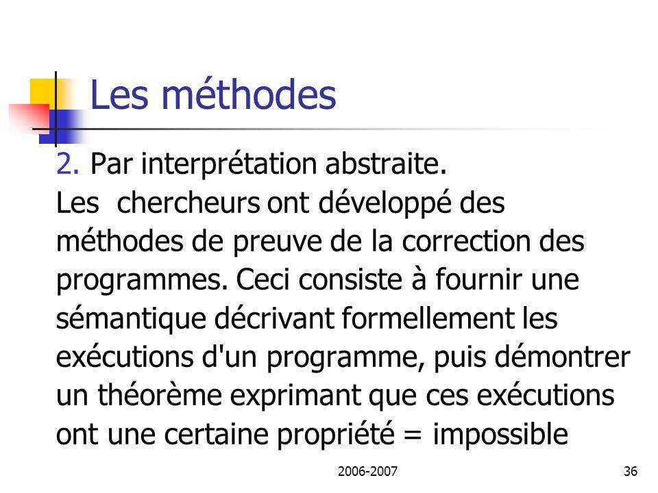Les méthodes 2. Par interprétation abstraite.